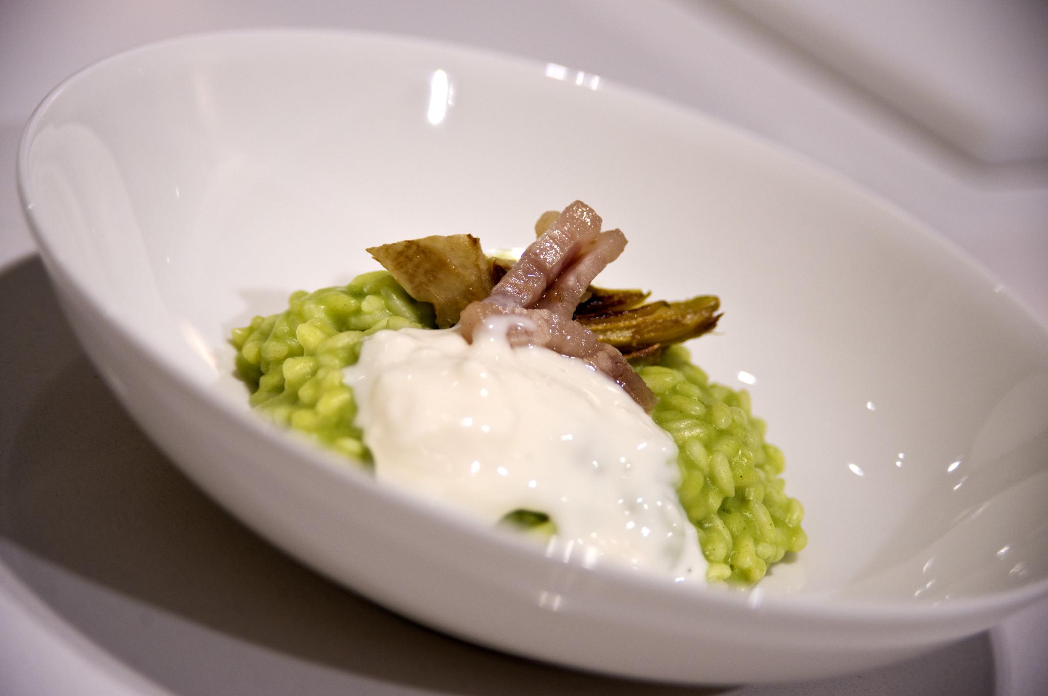 Il risotto con broccoli preparato insieme allo chef Marchini nel temporary showroom Bertazzoni a Milano